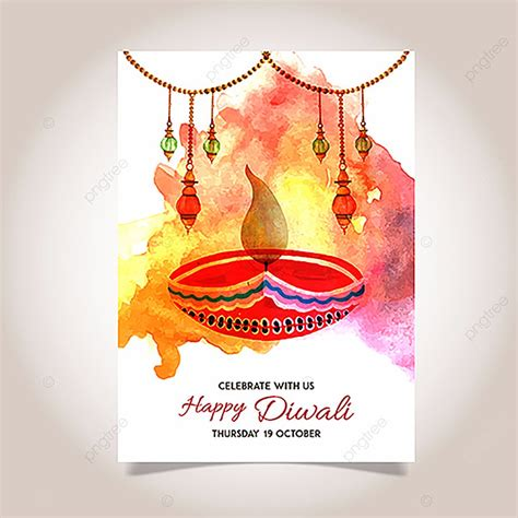 Watercolor Diwali Poster Template for Free Download on Pngtree