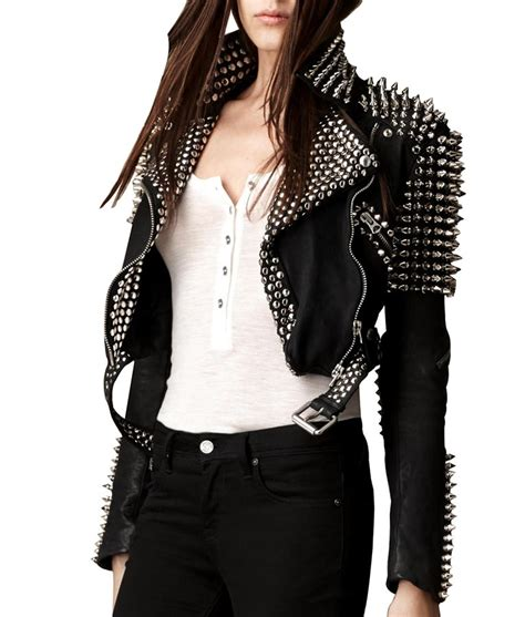Womens Silver Spikes Studded Cropped Leather Jacket