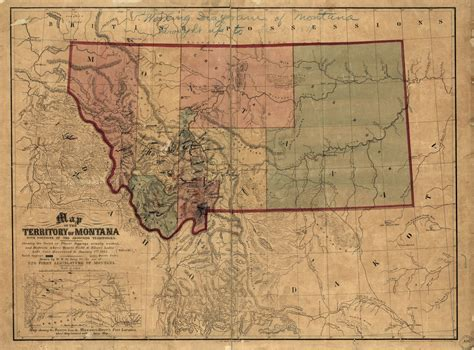 Map of the territory of Montana with portions of the