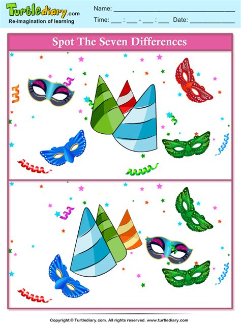 Spot the Differences Party Theme Worksheet - Turtle Diary