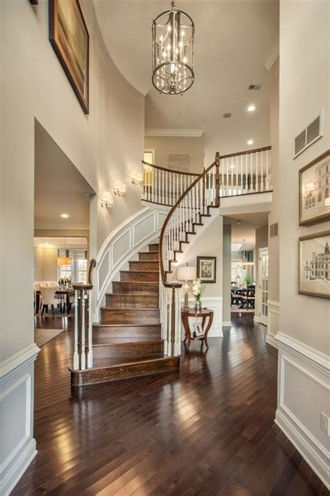 Traditional Entryway with Wainscoting, High ceiling