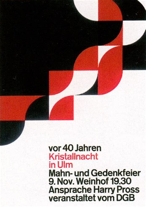 aicher Kristallnacht in Ulm / Poster / 1978 (With images