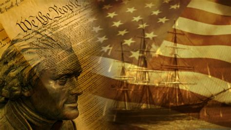 """""""We The People"""" Background With US Flag And Old Ship"""