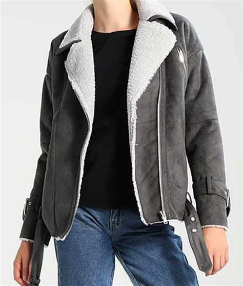 Grey Leather Womens Faux Shearling Motorcycle Jacket - USA