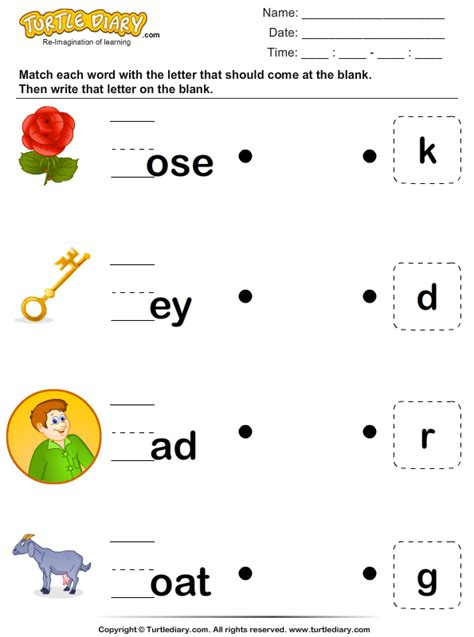 Match the Missing Letter to Complete the Word Worksheet